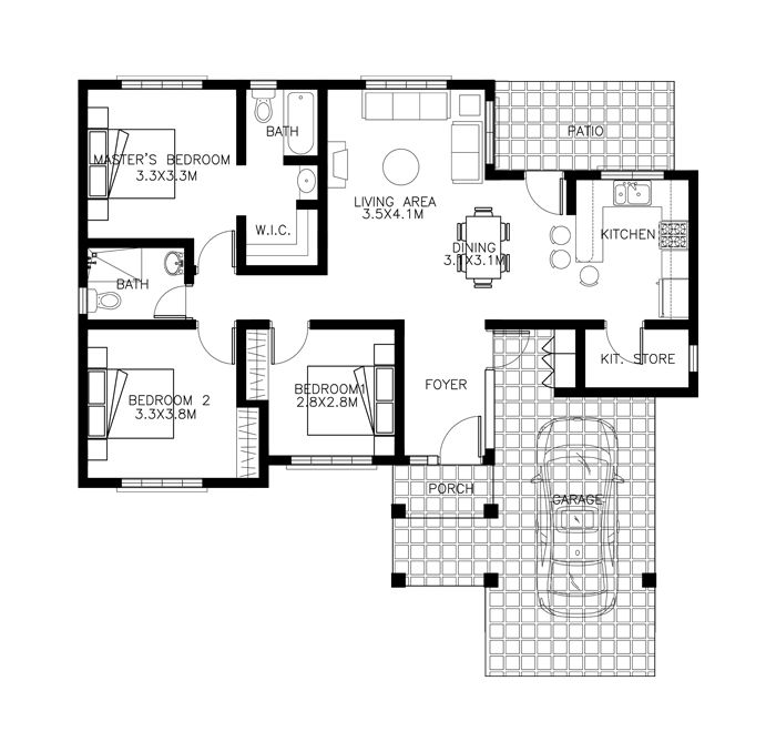 Best One Story House Plans Images On Pinterest Small House - 3 bedroom house design in philippines