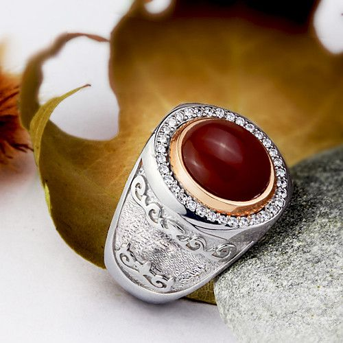 Men's Gemstone Ring with Natural Red Agate Cabochon in 925 Sterling Silver #mensfashionpost #ringsapphire #ringforman #mensnecklace #mensgoldring #giftforhim #jewelry #gem