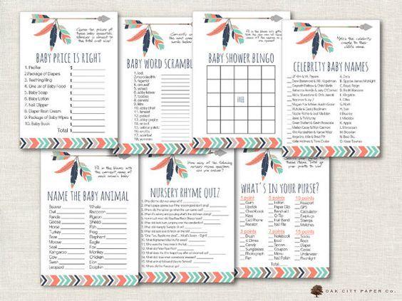 Tribal Baby Shower Games - Tribal Shower Games, Adventure Shower Game, Arrow Baby Shower Games, Mint, Coral, Pink, Aztec, Tribal, Boho - DIY