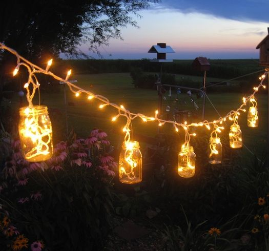 lanters made usings mason jars for wedding