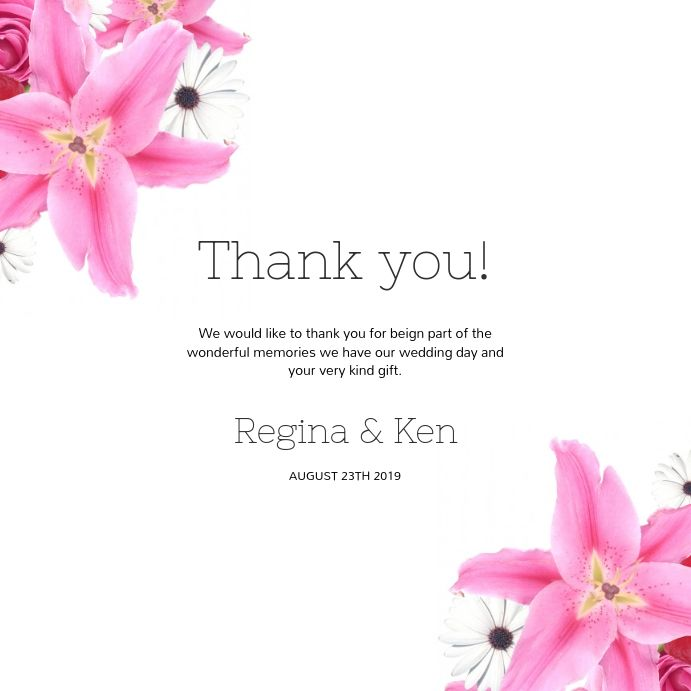 Wedding Thank You Card Template For Instagram Wedding Invitation Templates Thank You Card Template Wedding Invitations