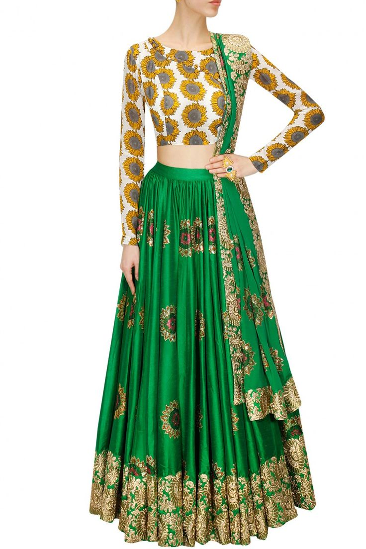 Green sunflower embroidered lehenga with printed blouse and dupatta available only at Pernia's Pop-Up Shop.