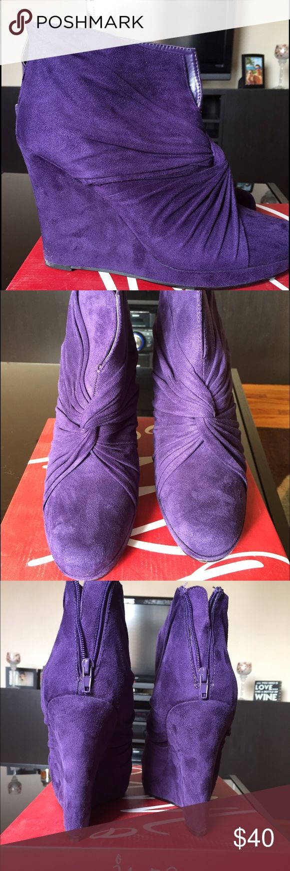 Impo purple ankle boot wedges NWOT IMPO brand velvet purple ankle boots. Wedge style heels. Never worn. Women's size 10. IMPO Shoes Ankle Boots & Booties