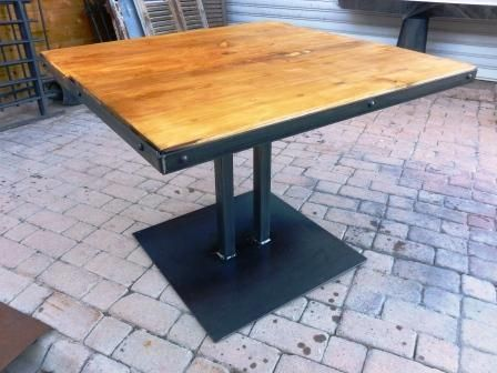 Table Pied Central Metal Bois Style Industriel Creation