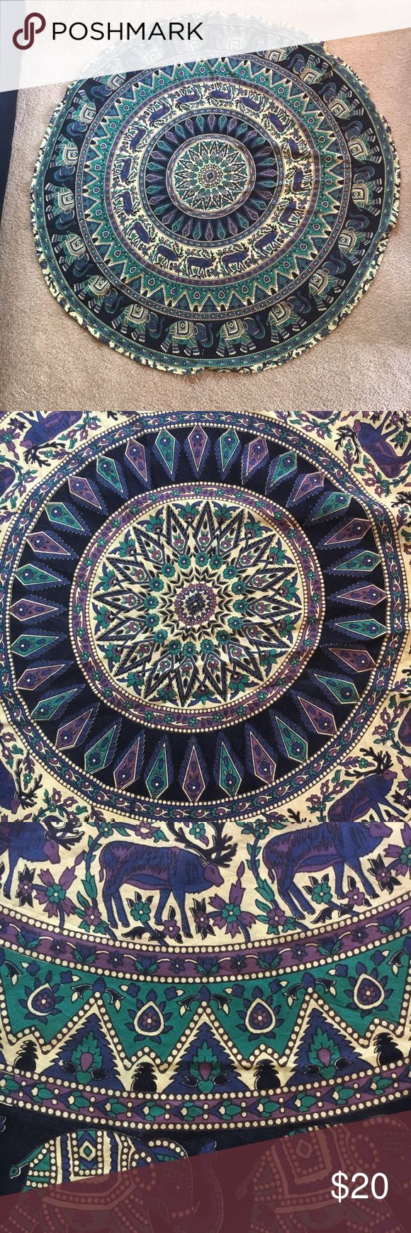 """Tapestry, Chic Elephant Gypsy Print Blue/Purple Ready for your next beach party or gypsy home den! Brand new, never used. For you mathematicians out there it, 23.5"""" radius (47"""" diameter). It is thin material, but decent quality. I'm more of a skull/bones rock 'n' roller therefore parting with this. Gypsy hearts run free! Could also be worn as a coverup or even cape! Brand new without tags. Rug/tapestry for that wild root vibe! Witchy earth goddess worthy! Accessories"""