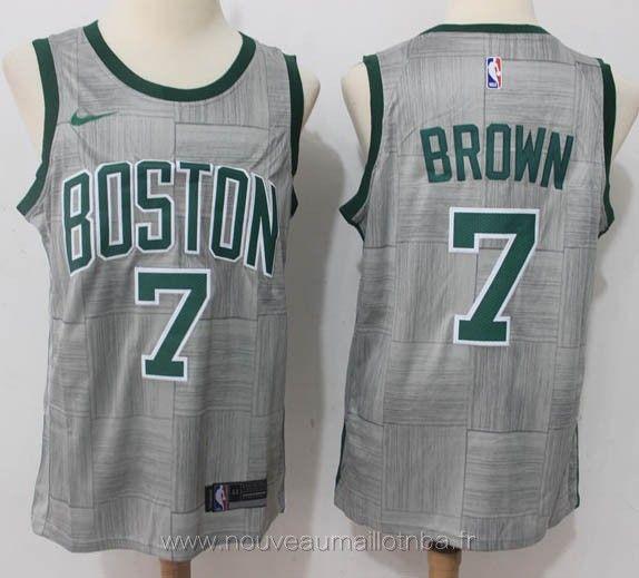 check out 6a473 6a376 ... Brown Boston Celtics 2018 Marque NIKE Maillot de joueur pour Jaylen  Brown Style pour Maillot Basket homme pas cher Equipes pour Boston Celtics