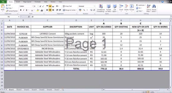 use of excel spread sheet by a quantity surveyor for