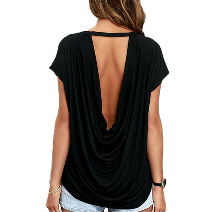 Dos ouvert Casual à Manches courtes T shirt D'été Style Femmes Vêtements Casual Dos Nu O cou Tops T shirts dans T-Shirts de Femmes de Vêtements et Accessoires sur AliExpress.com | Alibaba Group