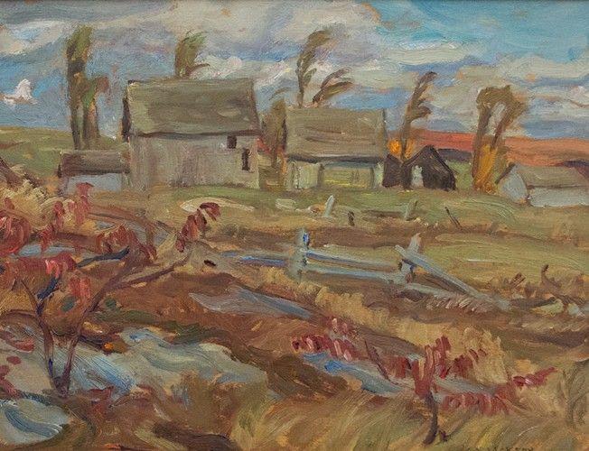 A.Y. Jackson - County Near Bancroft Ontario 24 x 20.75 Oil on board (October 1953)