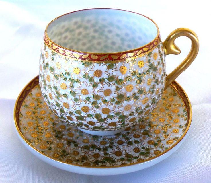 Japanese Kutani Egg Shell Porcelain Demitasse Cups and Saucers Set                                                                                                                                                                                 More