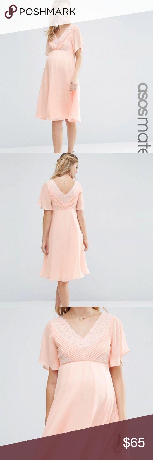 Asos maternity midi dress peachy pink color ASOS Maternity Dresses Midi