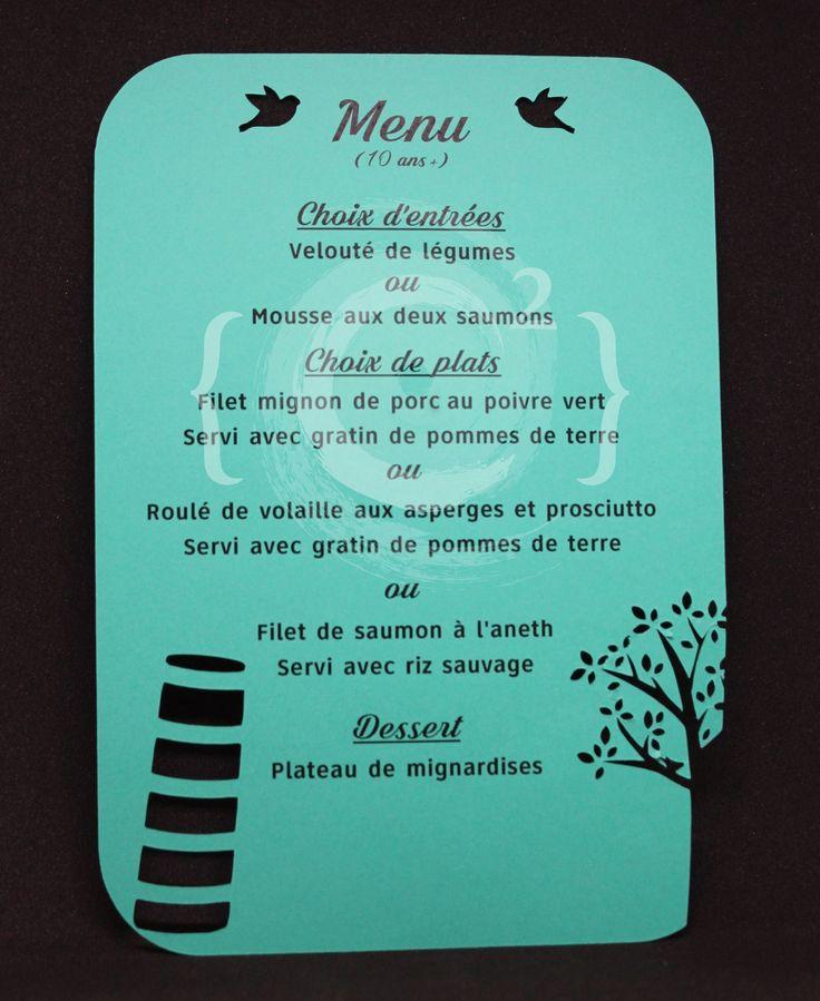 """Mariage of city and nature"" Wedding invitations menu made by Catie Corbin www.catiecorbin.com https://facebook.com/catiecorbin.graphiste/"