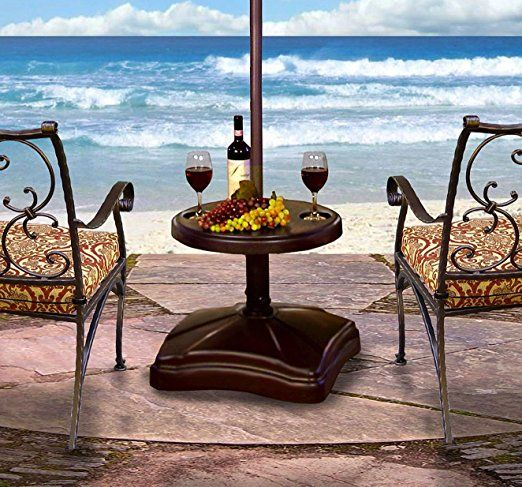 Shademobile RU22-6250 Rolling Umbrella Stand and Accessory Table, Bronze
