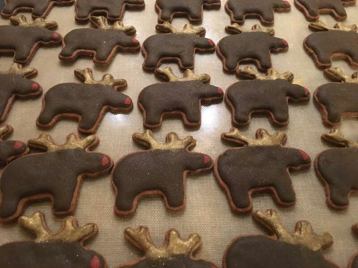 Rendier koekjes met goud stof