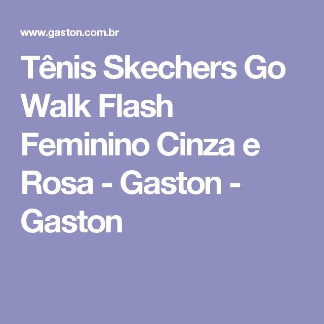 Tênis Skechers Go Walk Flash Feminino Cinza e Rosa - Gaston - Gaston
