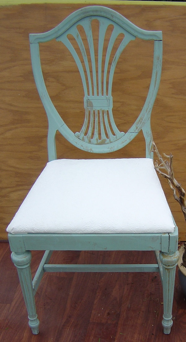 VINTAGE DINING CHAIRS Set of 4 Painted Turquoise or Aqua