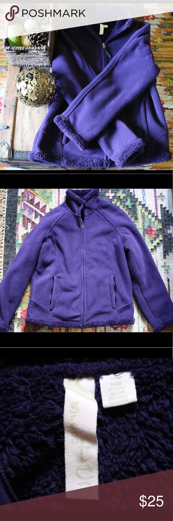 Purple fleece zip up jacket Thick, warm and uber cozy, this velvety fleece jacket is perfect for cold nights. Be bold in a bright royal shade of purple. NWOT. Green Tea Jackets & Coats
