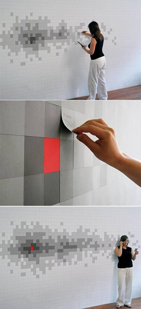 This Pixelnotes wallpaper, by designer Duncan Wilson, consists of four layers of varying grey tones. Each layer is like a post-it note and every time you split a layer, the individual pixel gets darker.