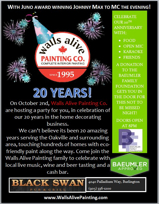 """One more day to our 20th Anniversary Celebration!!! The Party Starts at 6:00 pm Tomorrow, Friday October 2nd at the Black Swan Pub & Grill @ 4040 Palladium Way, Burlington. The Live Music to kick off at 8:00pm Loads of Great Entertainment, Food & Free Beer and Wine Tasting ~ Live Band with the option to Jam with your fellow Walls Alive Family members! Bring your singing voice and dancing shoes ~ """"Let's Paint The Pub Red"""" #Burlington #Weekend #LiveMusic #LiveBands"""