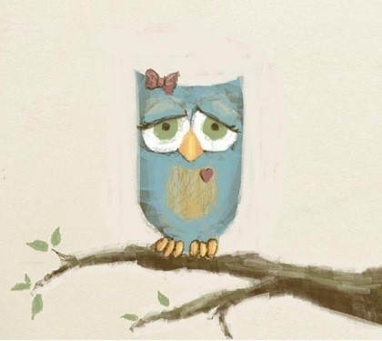 sad owl with ribbon (artist unknown)