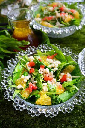 清涼感抜群♡押し麦と水菜と甘夏の美人サラダ 水菜の簡単おしゃれサラダ