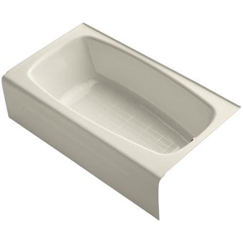 Kohler K-746 Seaforth 54 Enameled Cast Iron Soaking Bathtub for Alcove Installations with Right Drain