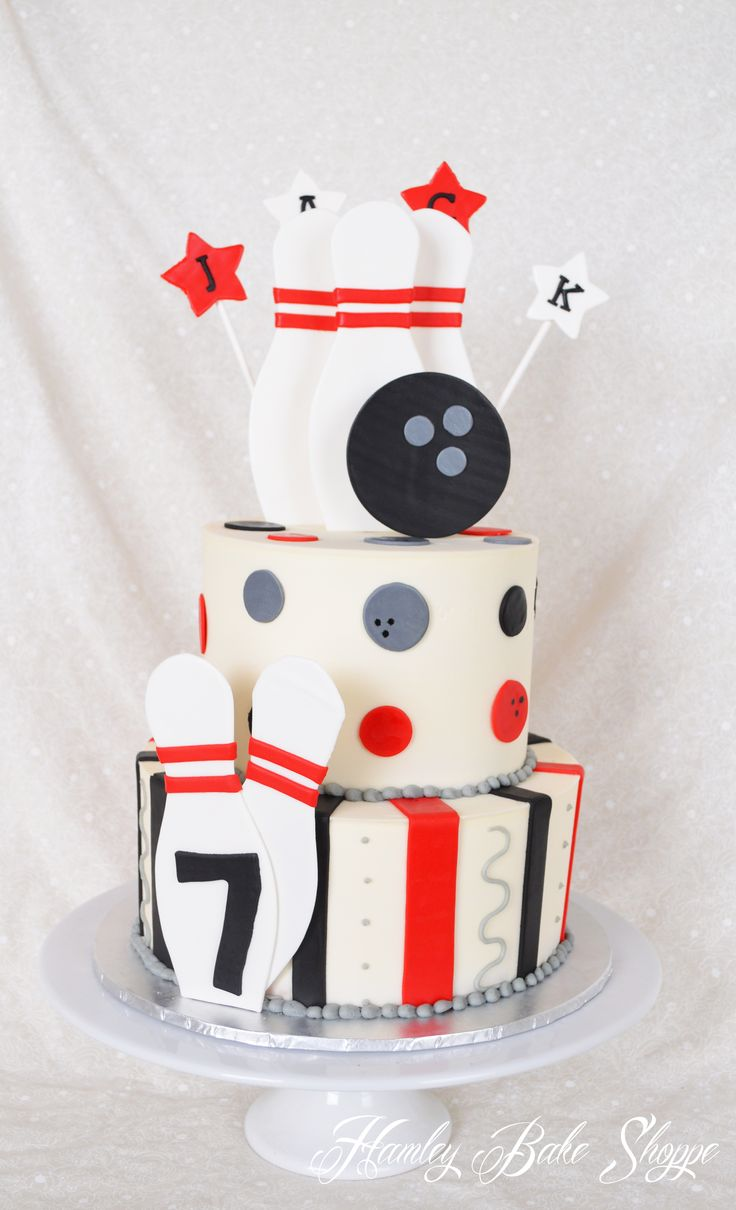 Bowling Birthday Cake - could do with just one layer and make the pins and bowling ball from cookies