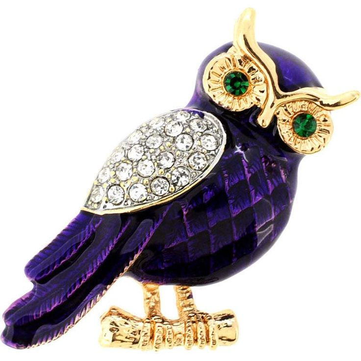 This is so me! I love Owls & Purple! Put the finishing touch on any ensemble with this beautiful owl brooch pin. The purple body is enhanced by goldtone features and glittery cubic zirconia wings and green crystal eyes, secured by a classic pin clasp.