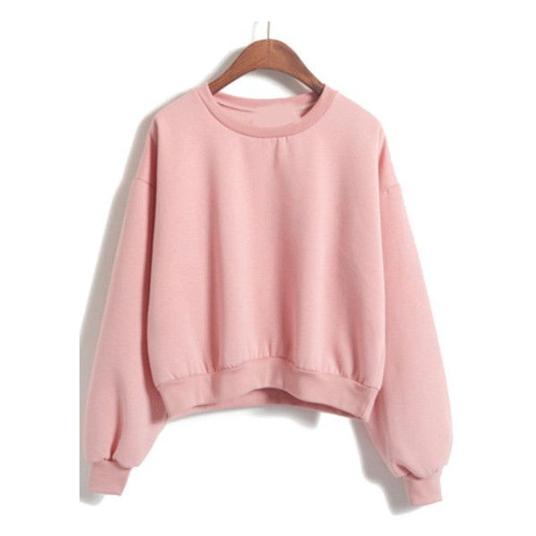 Round Neck Crop Loose Pink Sweatshirt (£9.13) ❤ liked on Polyvore featuring tops, hoodies, sweatshirts, romwe, sweaters, cut loose tops, cropped sweatshirt, loose fitting tops, sweatshirts hoodies and crop top
