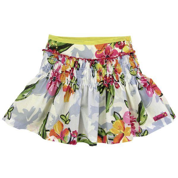 Catimini floral print yellow skirt