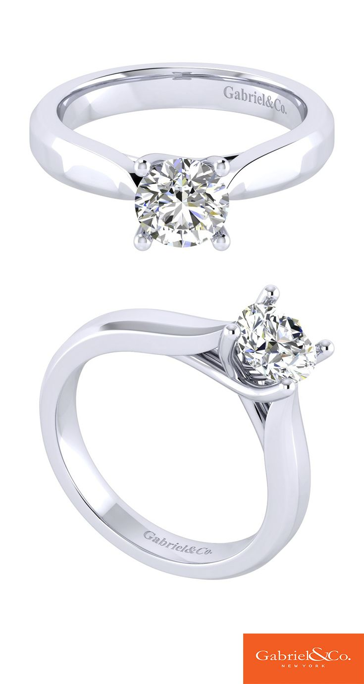 Gabriel & Co. - Pair true love with a 14k White Gold Solitaire Engagement Ring.