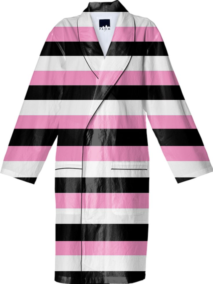 Très chic Black, white and pink stripes cotton bathroom by Khoncepts.com ( $150.00)