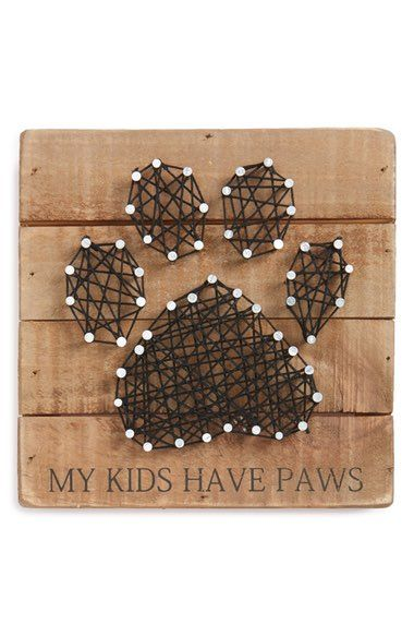"Primitives by Kathy Paws String Art - ""My Kids Have Paws."" The perfect gift for a dog, cat or pet lover."