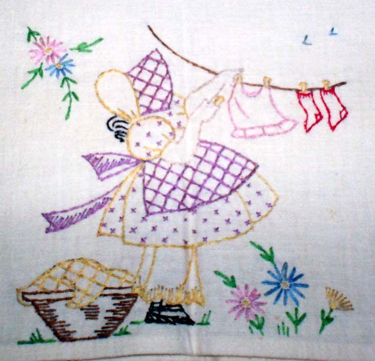 applique tea towel patterns | Vintage Embroidery Patterns - Vintage Sewing Patterns- Allison Ray ...