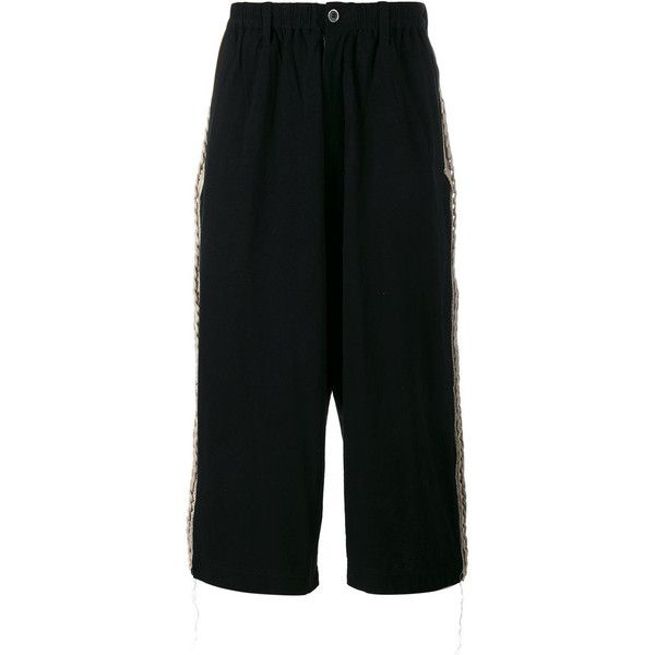 Yohji Yamamoto knitted cropped wide-leg trousers (25.635 RUB) ❤ liked on Polyvore featuring men's fashion, men's clothing, men's pants, men's casual pants, black, mens cropped pants, mens elastic waistband pants, yohji yamamoto mens pants, mens wide leg pants and mens elastic waist pants