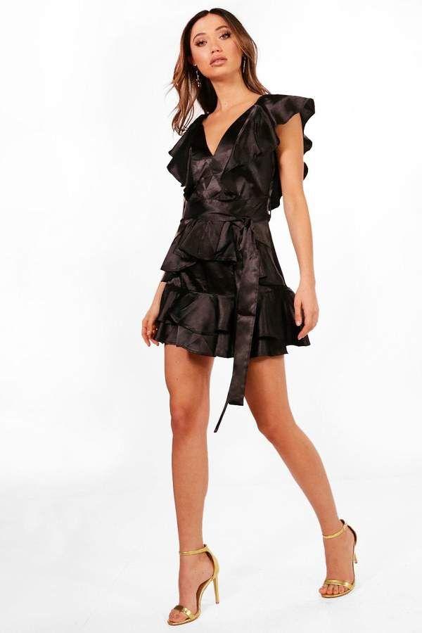 a77dc8144fd8 boohoo Boutique Erin Ruffle Skirt Satin Skater Dress | CURRENT ...
