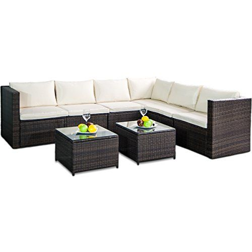 Leisure Zone Rattan Patio Furniture Set Wicker Sofa Cushioned Sectional Furniture Set Garden Patio Sofa Set (8 Pieces, Brown) #Leisure #Zone #Rattan #Patio #Furniture Set #Wicker #Sofa #Cushioned #Sectional #Furniture #Garden #Pieces, #Brown)