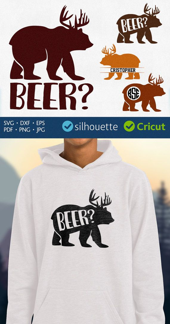 Bear Deer Beer svg Bear with antlers clipart frame for Silhouette design jpg eps pdf dxf svg digital files for Cricut Heat Press Transfer