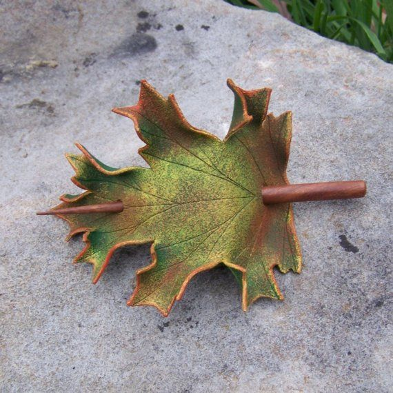 Autumn Oak Leaf Leather  Hair Cup by MythicalDesigns on Etsy, $20.00