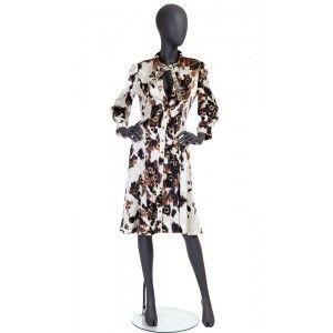 Just Cavalli jedwabna sukienka ze złotymi wzorami