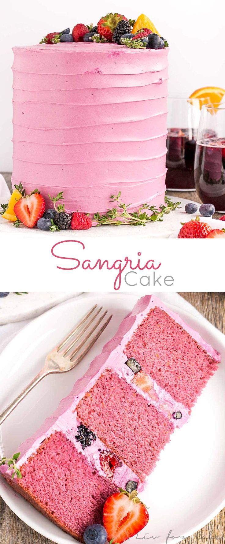 Celebrate summer with this Sangria Cake!Cake layers infused with sangria and orange zest, topped with vanilla buttercream and fresh berries. | livforcake.com