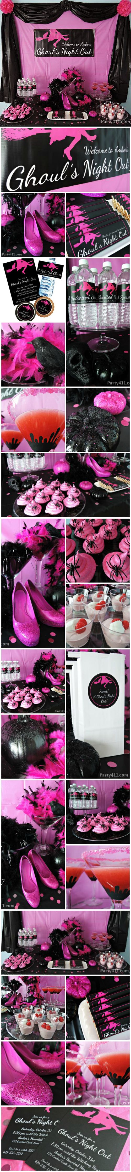"""Ghoul's Night Out"" Pink & Black Halloween Party ideas."