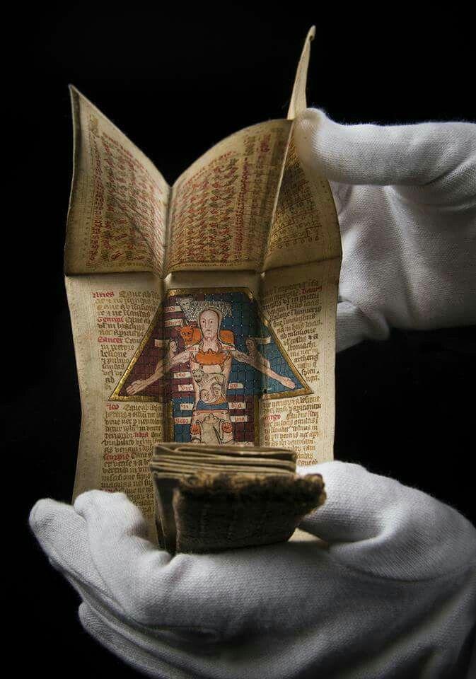 Almanaque plegable, Wellcome Library, Londres.Siglo XV.  Este muestra las épocas del año en que se podía realizar las sangrías y cuándo estaba prohibido.