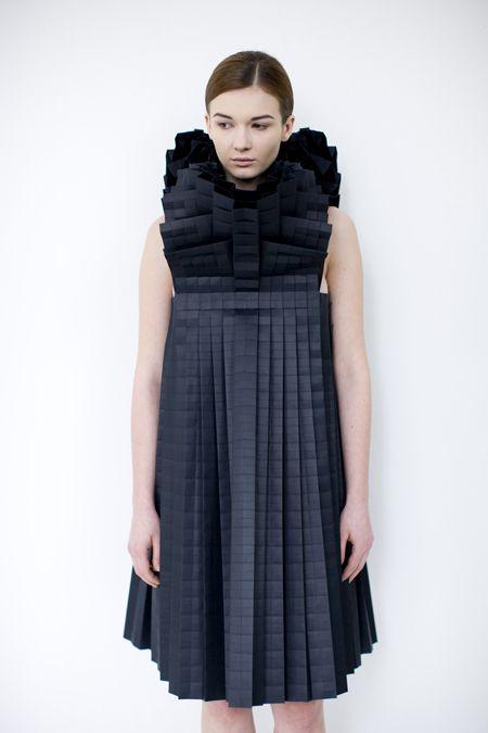 Origami Fashion - pleated paper dress with complex 3D design - fashion architecture; sculptural fashion // Morana Kranjec