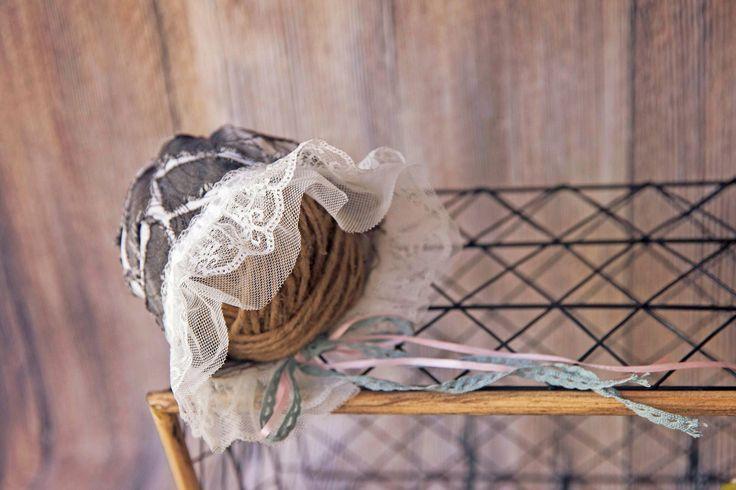 Handmade patchwork bonnet for baby girlsbonnet lace