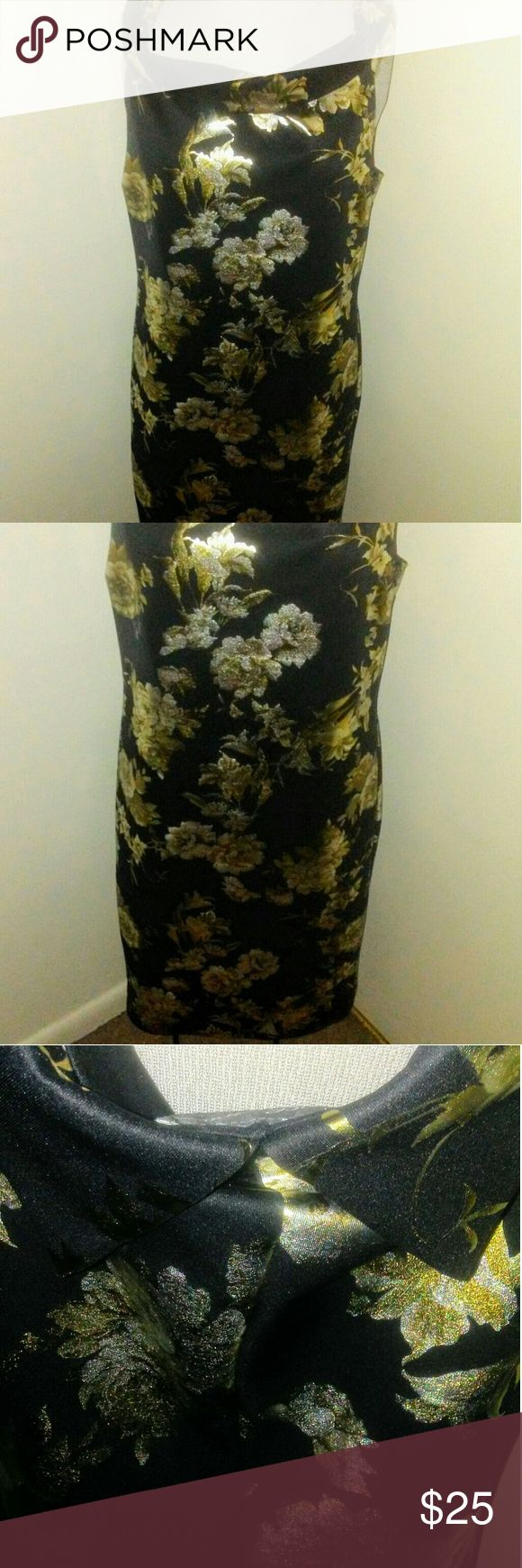 Glamorous Dress (NWOT) Get Glammed up and show off those Curves wearing this Beautiful Black, Gold, and Silver Bodycon Dress.. It is Size 3x (True to Size) Super Scretchy.. Silky Material.. Features a Off Shoulder Design. Brand New, Only worn to model. Dresses