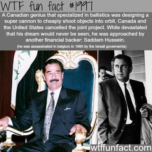 Canadian genius,Gerald Bulland Saddam Hussein -WTF fun facts
