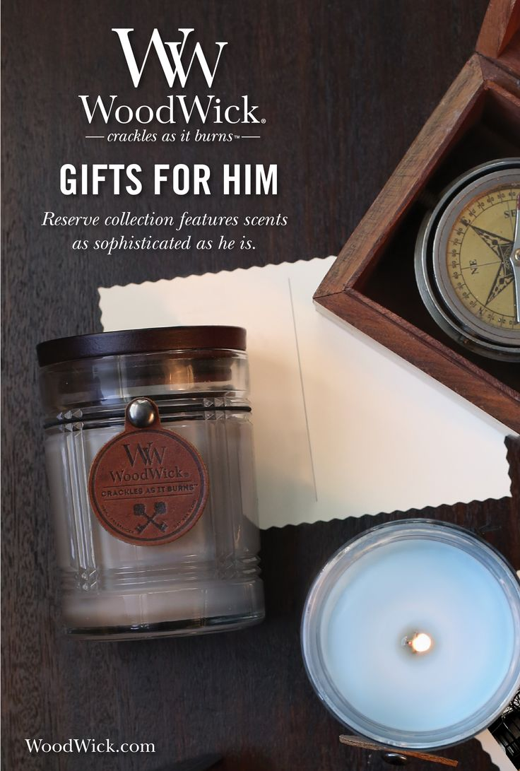 WoodWick® Reserve collection feature a natural wooden wick that crackles as it burns with fragrances as sophisticated and masculine as he is. #woodwick #candle #reserve #gifts #forhim #men