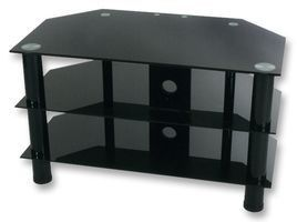 """Black Glass TV Stand with Black Legs for up to 37"""" TVs by LEVV.  This is a fantastic value black glass TV Stand from Manchester firm LEVV Home and is ideal for families looking for smart furniture on a budget.  The TV Stand is manufactured from British Standard safety glass and is finished with smart black legs with a 3 year manufacturer's warranty on this product included as standard.  Dimensions:  W-800mm, H-480mm, D-450mm   TV702800BB."""