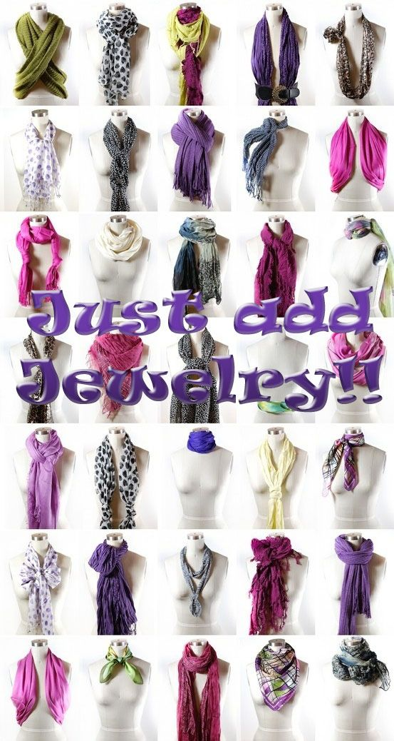 A few essential must know ideas to add jewelry to scarf styles. Infinity scarves are fabulous with layered necklaces such as long chains and sweet delicate necklaces.